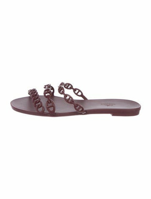 Hermes Rivage Chaine d'Ancre Insignia Slides Chain-Link Accent Rubber Slides