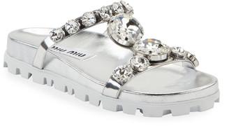 Miu Miu Crystal Metallic Slide Sandals
