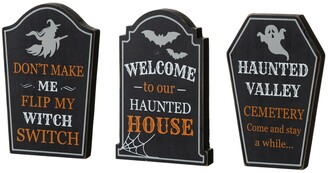 """Glitzhome 7"""" H Halloween Wooden Tombstone Table Sign, Set of 3"""
