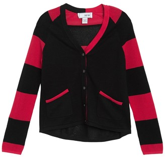 Joan Vass Long Sleeve Stripe Cardigan