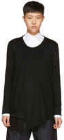Y's Black Long Sleeve Ruffle T-Shirt