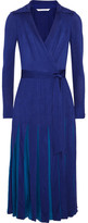 Diane von Furstenberg Stevie Pleated Satin-jersey And Georgette Wrap Dress - Royal blue