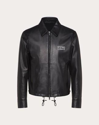 Valentino Vltn Tag Leather Jacket Man Black Mohair 100%, Cotton 44