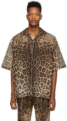 Dolce & Gabbana Brown Ripstop Leopard Shirt