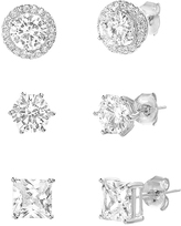 Bliss Sterling Silver & Cubic Zirconia Trio Bezel Stud Earrings Set