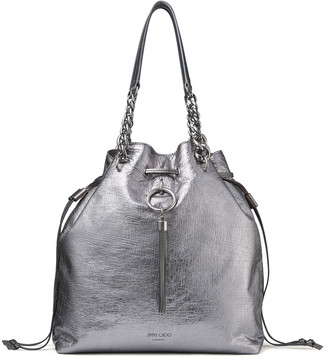 Jimmy Choo CALLIE DRAWSTRING/L Metallic Vintage Goat Leather Bucket Bag with Chain Strap