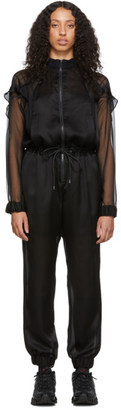 Sacai Black Check Chiffon and Satin Jumpsuit