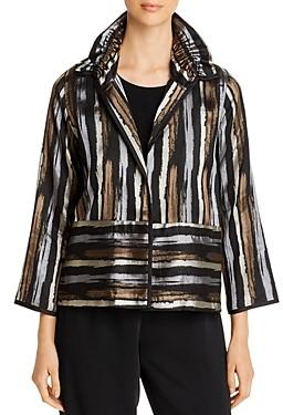 Caroline Rose Striped Jacquard Ruched-Collar Jacket