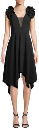 Halston Handkerchief Ruffle-Sleeve Dress