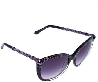 Roberto Cavalli Animal Print/ Blue Gradient 979S Tania Round Sunglasses