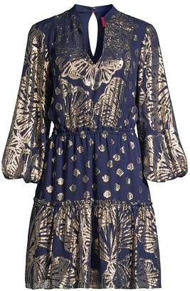 Lilly Pulitzer Joella Seagrass-Print Metallic Silk Puff-Sleeve A-Line Dress