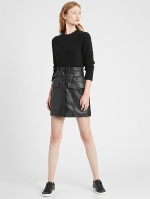 Banana Republic Vegan Leather Utility Mini Skirt