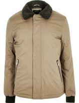 River Island Mens Stone borg collar jacket