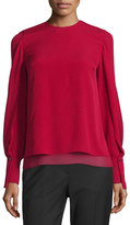 3.1 Phillip Lim Long-Sleeve Tiered Silk Blouse, Ruby