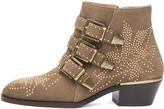Chloé Susanna Suede Studded Bootie in Taupe