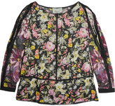 3.1 Phillip Lim Meadow Flower Cold-shoulder Printed Silk-satin Blouse - Black