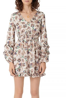 Maje Risley Satin Paisley Print Ruffled Mini Dress