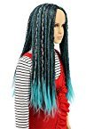 Karlery Child Kids Long Braided Fake Hair Blue and Black Mixed Wig Halloween Cosplay Wig Anime Costume Party Wig