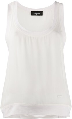 DSQUARED2 Jersey-Trimmed Chiffon Tank Top