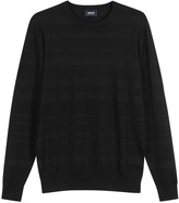 Armani Jeans Black Ribbed Stretch-knit Jumper
