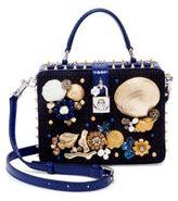Dolce & Gabbana Embellished Woven Cotton & Snakeskin Top-Handle Bag
