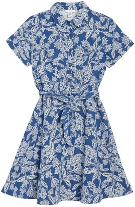 London Times Floral Tie Waist Linen Blend Shirt Dress