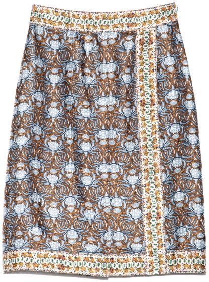 Rochas Preorder Crab Printed Silk Twill Skirt