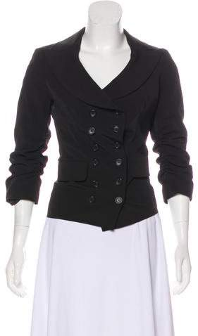 Elizabeth and James Ruched Double-Breasted Blazer