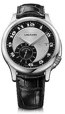 Chopard L.U.C Classic Twist Silver and Black Dial Black Leather Men's Watch