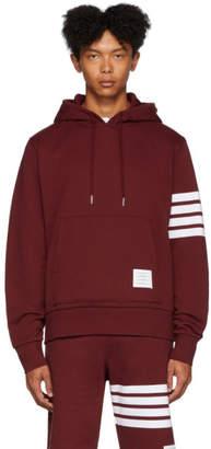 Thom Browne Red Engineered 4-Bar Pullover Hoodie
