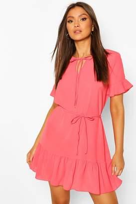 boohoo Ruffle Hem Tie Detail Belted Mini Dress