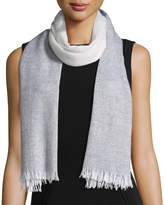 Neiman Marcus Cashmere Striped Fringe Scarf