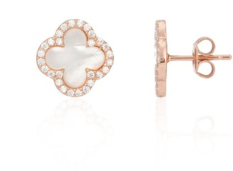 Mother of Pearl Auree Jewellery Irini Rose Gold & Clover Stud Earrings