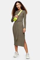 Topshop Khaki Cut and Sew Belted Midi Dress