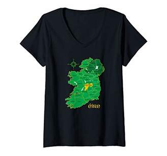 Celtic Womens Offaly Ireland County Map Eire Irish Travel Gift V-Neck T-Shirt