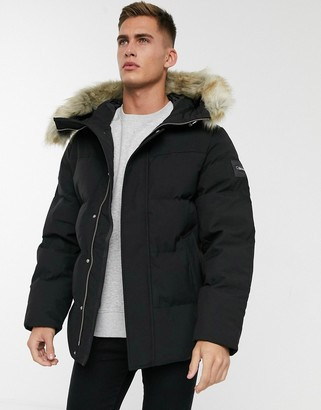 Calvin Klein synthetic down bomber jacket with faux fur trim in black
