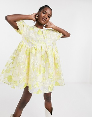 Sister Jane mini smock dress with puff sleeves in metallic floral organza