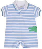 Florence Eiseman Striped Jersey Alligator Shortall, Blue, Size 3-24 Months