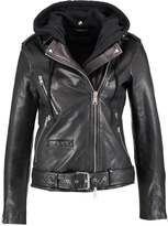 AllSaints OVERSIZED HOODED BIKER Leather jacket black