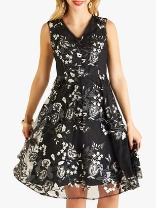 Yumi Sequin Skater Dress, Black
