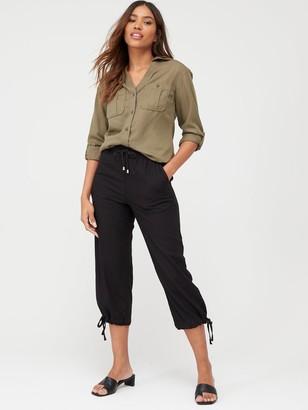 Very Linen Mix Crop Trouser - Black