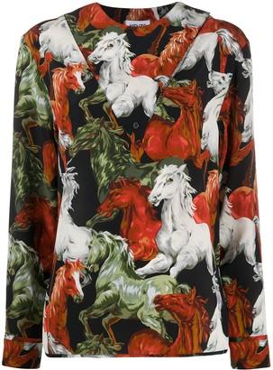 Kenzo Silk Horse Pattern Blouse