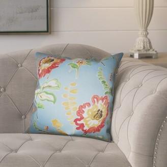 """August Grove Elissa Floral Cotton Throw Pillow Color: Light Blue, Size: 18"""" H x 18"""" W"""