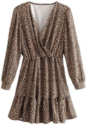 Goodnight Macaroon 'Nova' Wrap Top Leopard Print Dress