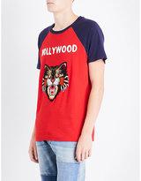 Gucci Hollwyood Cat-motif Cotton-jersey T-shirt