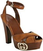cognac suede 'Grease' platform sandals