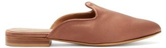 BEIGE Le Monde Beryl - Venetian Backless Satin Slipper Shoes - Womens - Dark