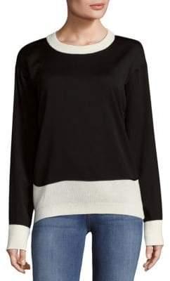Donna Karan Chunky Merino Wool Open Cable Sweater