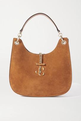 Jimmy Choo Varenne Medium Leather-trimmed Suede Shoulder Bag
