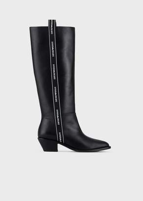 Emporio Armani Leather Boots With Logo Strap